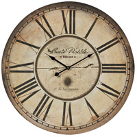 Sterling Industries Carte Postal with Antique Cream Metal Frame Clock in Antique Cream and Black 118-042