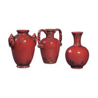 Sterling Industries Set Of 3 Mini Reproduction French Ceramic Jars Decorative Accessory in Alto Red 119-002 photo thumbnail