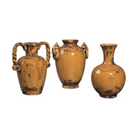 Sterling Industries Set Of 3 Mini Reproduction French Ceramic Jars Decorative Accessory in Alto Mustard 119-003 photo thumbnail