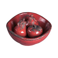 Sterling Industries Set Of Ceramic Fruits In Bowl Decorative Accessory in Alto Red 119-004 photo thumbnail