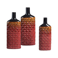 Sterling Industries Set Of 3 Ceramic Vases in Mars Red 119-026