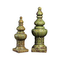 Sterling Industries Set Of 2 Ceramic Finials Decorative Accessory in Girard Green 119-031 photo thumbnail