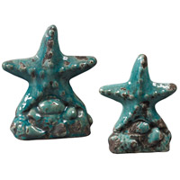 Sterling Industries Set Of 2 Ceramic Star Fish Decorative Accessory in Turquoise Glaze 119-043/S2