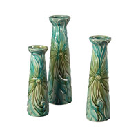 Sterling Industries Set Of 3 Troplical Leaf Ceramic Jars Decorative Accessory in Clear Water Glaze 119-047/S3