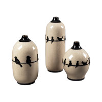 Sterling Industries Set Of 3 Birds On A Wire Ceramic Jars Decorative Accessory in Cream Glaze / Black 119-048/S3