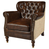 Cesar Natural Burlap with Tan Leather Arm Chair