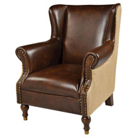 Cesar Natural Burlap with Tan Leather Wing Chair