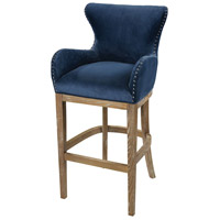 Roxie 43 inch Navy and Reclaimed Oak Bar Chair