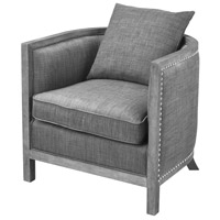 Cupertino Reclaimed Grey Wood And Grey Chenille Club Chair Home Decor
