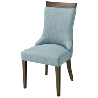 San Antonio Brown with Grey Wood And Green Linen Dining Chair Home Decor