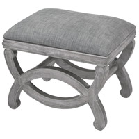 Cupertino Reclaimed Grey Wood And Grey Chenille Bench Home Decor