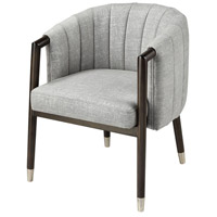 Vronsky Black Wood With Stainless Steel And Grey Linen Accent Chair Home Decor