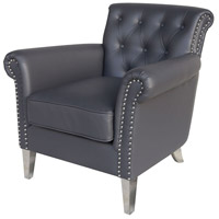 Havilland Grey Faux Leather And Stainless Steel Armchair Home Decor