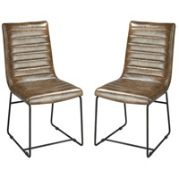 Supperclub Tobacco Faux Leather And Black Metal Dining Chairs Home Decor, Set of 2