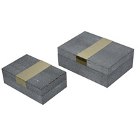 Coral Gables 9 inch Grey Faux Shagreen With Gold Stainless Steel Decorative Boxes, Set of 2