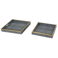 Sterling 1218-1001/S2 Coral Gables Grey Faux Shagreen With Gold Stainless Steel Trays, Set of 2