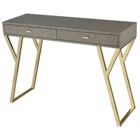 Sunset Plaza 43 inch Linen Look Faux Leather With Gold Plate Console Table Home Decor