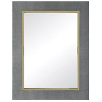 Coral Gables 35 X 27 inch Metallic Grey Faux Leather With Gold Plate Wall Mirror Home Decor