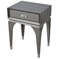 Sterling 1218-1005 Black Mamba 24 X 18 inch Metallic Silver Faux Snake Skin/Chrome/Acrylic Accent Table