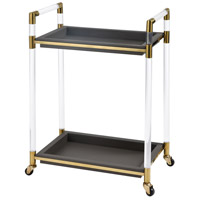 Bullion Acrylic with Gold Plate And Grey Faux Leather Bar Cart