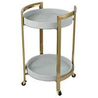Pirouette White Faux Leather With Gold Plate Bar Cart