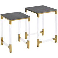 Consulate 16 inch Acrylic with Gold Plate And Grey Faux Leather Nested Tables Home Decor, Set of 2