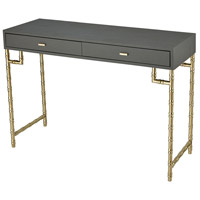 Grand 43 X 15 inch Grey Faux Leather/Gold-plated Stainless Steel Console Table