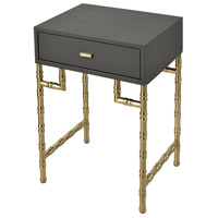 Sterling 1218-1019 Grand 24 X 18 inch Grey Faux Leather/Gold-plated Stainless Steel Accent Table