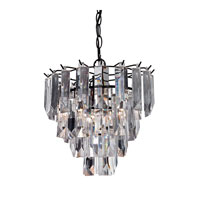 Sterling Glass Fringe 1 Light Pendant in Dark Bronze 122-017