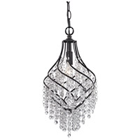 Crystal Drop 1 Light 8 inch Dark Bronze Pendant Ceiling Light