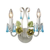 Green and Blue 2 Light 11 inch Wall Sconce Wall Light