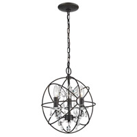 Sterling Industries Restoration 3 Light Globe With Crystal Pendant in Bronze / Clear 124-003