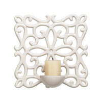 Sterling Industries White Ceramic Candle Sconce Decorative Accessory in White Glaze 125-020