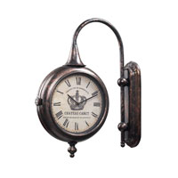 Sterling Industries Antique Double Sided Wall Clock in Bute Bronze 125-036 photo thumbnail