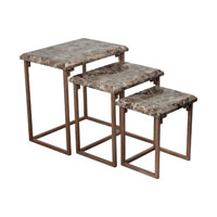 Sterling Industries Marble Top Nestng Tables Nesting Tables in Brown Marble / Warm Antique Silver 125-046