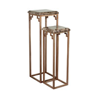 Sterling Industries Marble Top Pedestals in Brown Marble / Warm Antique Silver 125-047