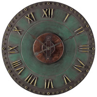 Sterling Industries Metal Roman Numeral Outdoor Wall Clock in Marilia Verde With Gold 128-1004