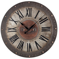 Sterling Industries Metal Roman Numeral Outdoor Wall Clock in Jardim Grey With Copper Highlight 128-1005