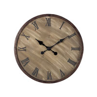 Sterling Industries Wooden Roman Numeral Outdoor Wall Clock in Antique Washed Wood With Bronze Highlight 128-1007