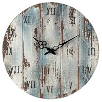 Sterling Industries Wooden Roman Numeral Outdoor Wall Clock in Belos Dark Blue 128-1008