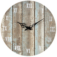 Sterling Industries Wooden Roman Numeral Outdoor Wall Clock in Belos Light Blue 128-1009