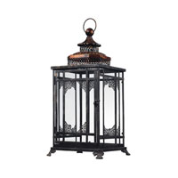 Sterling Industries Black And Gold Hurricane Lantern Decorative Accessory in Antique Black With Cassis Gold 128-1013 photo thumbnail