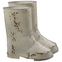 Sterling Industries Set Of 2 Boot Planters Decorative Accessory in Distressed Country Cream 128-1019/S2