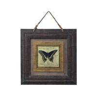Sterling Industries Picture Frame With Butterfly Print Decorative Accessory in Burnt Oak With Blue Antique 128-1025