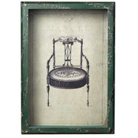 Sterling Industries Picture Frame With French Antique Chair Print Decorative Accessory in Distressed Verde 128-1027