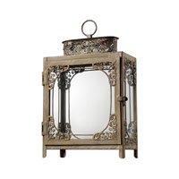 Sterling Industries Distressed White Hurricane Lantern Decorative Accessory in Matupa Cream 128-1030