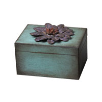 Sterling Industries Wooden / Metal Flower Keep Sake Box - Purple Decorative Accessory in Rosa / Purple 129-1015 photo thumbnail