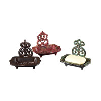 Sterling Industries Set Of 3 Soap Dishes Decorative Accessory in Weathered Barn Red / Green / Brown 129-1021/S3