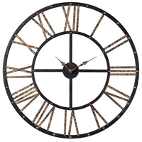 Sterling Industries Metal Framed Roman Numeral Open Back Wall Clock in Mombaca Black / Gold 129-1024