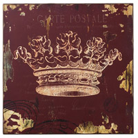 Sterling Industries Red Crown Print Wall Decor Decorative Accessory in Washed Burgundy 129-1032